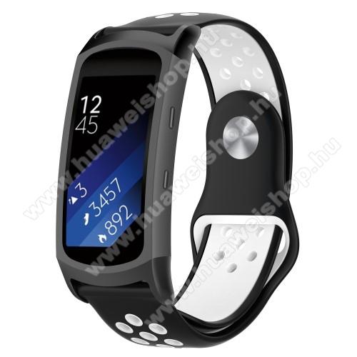 Okosóra szíj - légáteresztő, sportoláshoz, szilikon - FEKETE / FEHÉR - 95mm + 100mm hosszú, 18mm széles - SAMSUNG Gear Fit 2 SM-R360 / Samsung Gear Fit 2 Pro SM-R365