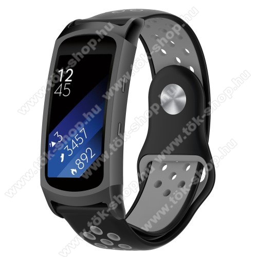 Okosóra szíj - légáteresztő, sportoláshoz, szilikon - FEKETE / SZÜRKE - 95mm + 100mm hosszú, 18mm széles - SAMSUNG Gear Fit 2 SM-R360 / Samsung Gear Fit 2 Pro SM-R365