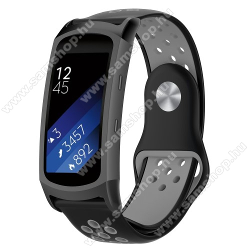 SAMSUNG Gear Fit 2 Pro (SM-R365)Okosóra szíj - légáteresztő, sportoláshoz, szilikon - FEKETE / SZÜRKE - 95mm + 100mm hosszú, 18mm széles - SAMSUNG Gear Fit 2 SM-R360 / Samsung Gear Fit 2 Pro SM-R365