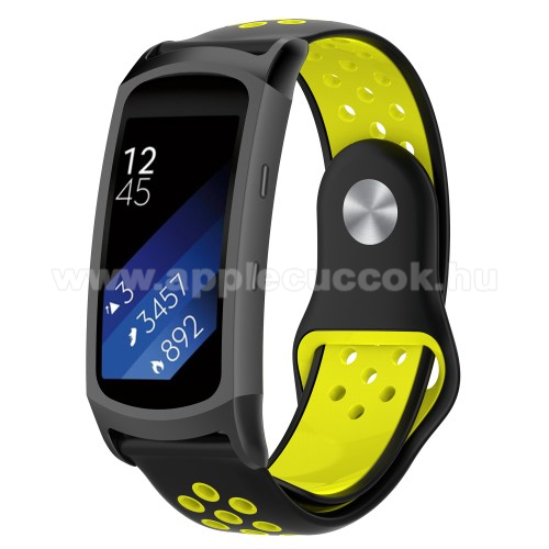 Okosóra szíj - légáteresztő, sportoláshoz, szilikon - FEKETE / SÁRGA - 95mm + 100mm hosszú, 18mm széles - SAMSUNG Gear Fit 2 SM-R360 / Samsung Gear Fit 2 Pro SM-R365