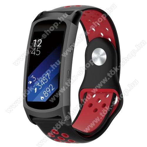 Okosóra szíj - légáteresztő, sportoláshoz, szilikon - FEKETE / PIROS - 95mm + 100mm hosszú, 18mm széles - SAMSUNG Gear Fit 2 SM-R360 / Samsung Gear Fit 2 Pro SM-R365