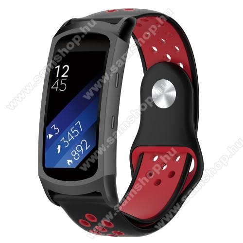 SAMSUNG Gear Fit 2 Pro (SM-R365)Okosóra szíj - légáteresztő, sportoláshoz, szilikon - FEKETE / PIROS - 95mm + 100mm hosszú, 18mm széles - SAMSUNG Gear Fit 2 SM-R360 / Samsung Gear Fit 2 Pro SM-R365