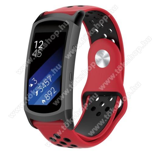 Okosóra szíj - légáteresztő, sportoláshoz, szilikon - PIROS / FEKETE - 95mm + 100mm hosszú, 18mm széles - SAMSUNG Gear Fit 2 SM-R360 / Samsung Gear Fit 2 Pro SM-R365