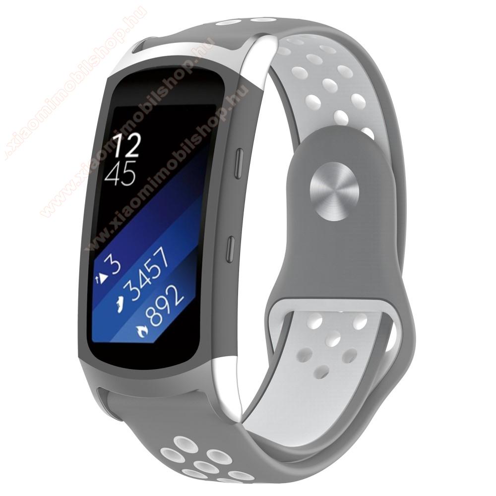 Okosóra szíj - légáteresztő, sportoláshoz, szilikon - SZÜRKE / FEHÉR - 95mm + 100mm hosszú, 18mm széles - SAMSUNG Gear Fit 2 SM-R360 / Samsung Gear Fit 2 Pro SM-R365