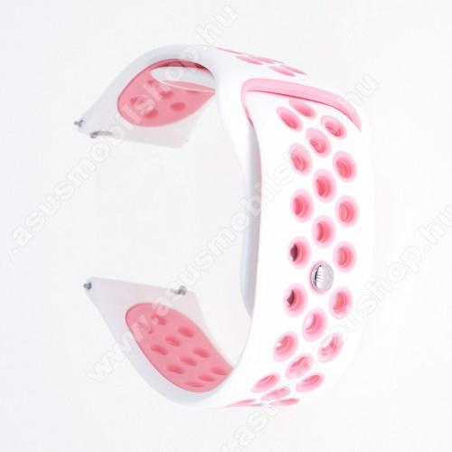 Okosóra szíj - légáteresztő, sportoláshoz, szilikon - 85mm + 88mm hosszú, 20mm széles - FEHÉR / RÓZSASZÍN - SAMSUNG Galaxy Watch 42mm / Xiaomi Amazfit GTS / HUAWEI Watch GT / SAMSUNG Gear S2 / HUAWEI Watch GT 2 42mm / Galaxy Watch Active / Active  2 / Gal