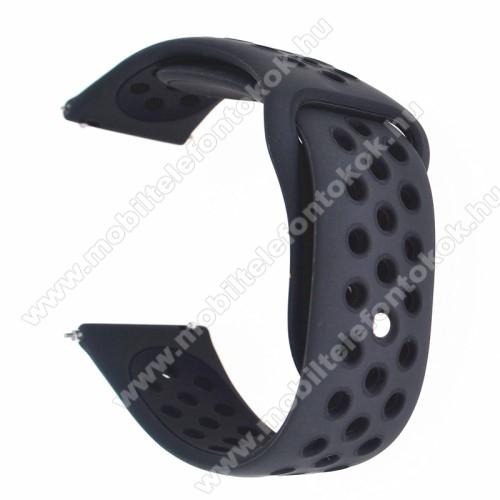 Okosóra szíj - légáteresztő, sportoláshoz, szilikon - FEKETE - 85mm + 88mm hosszú, 20mm széles - SAMSUNG Galaxy Watch 42mm / Xiaomi Amazfit GTS / SAMSUNG Gear S2 / HUAWEI Watch GT 2 42mm / Galaxy Watch Active / Active 2
