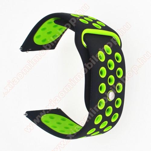 Huami Amazfit Youth Edition LiteOkosóra szíj - légáteresztő, sportoláshoz, szilikon - 85mm + 88mm hosszú, 20mm széles - FEKETE / ZÖLD - SAMSUNG Galaxy Watch 42mm / Xiaomi Amazfit GTS / SAMSUNG Gear S2 / HUAWEI Watch GT 2 42mm / Galaxy Watch Active / Active 2