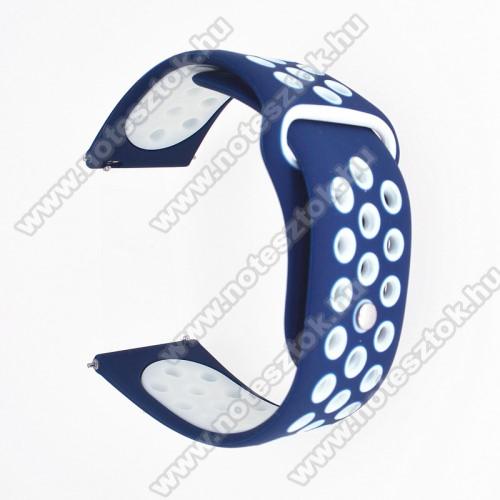 WOTCHI SmartWatch W22SOkosóra szíj - légáteresztő, sportoláshoz, szilikon - 85mm + 88mm hosszú, 20mm széles - SÖTÉTKÉK / FEHÉR - SAMSUNG Galaxy Watch 42mm / Xiaomi Amazfit GTS / SAMSUNG Gear S2 / HUAWEI Watch GT 2 42mm / Galaxy Watch Active / Active 2