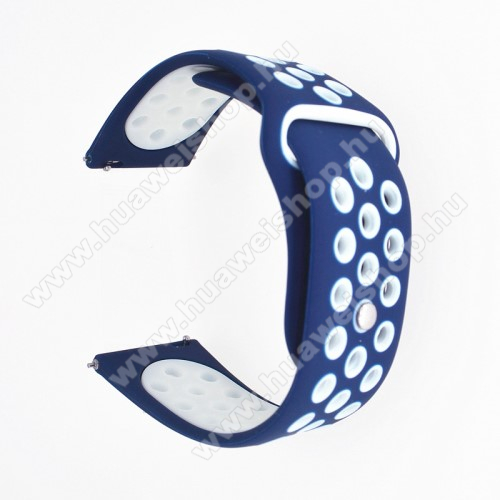 HUAWEI Honor MagicWatch 2 42mmOkosóra szíj - légáteresztő, sportoláshoz, szilikon - 85mm + 88mm hosszú, 20mm széles - SÖTÉTKÉK / FEHÉR - SAMSUNG Galaxy Watch 42mm / Xiaomi Amazfit GTS / SAMSUNG Gear S2 / HUAWEI Watch GT 2 42mm / Galaxy Watch Active / Active 2