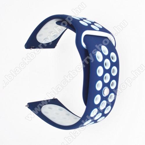 Okosóra szíj - légáteresztő, sportoláshoz, szilikon - 85mm + 88mm hosszú, 20mm széles - SÖTÉTKÉK / FEHÉR - SAMSUNG Galaxy Watch 42mm / Xiaomi Amazfit GTS / SAMSUNG Gear S2 / HUAWEI Watch GT 2 42mm / Galaxy Watch Active / Active 2