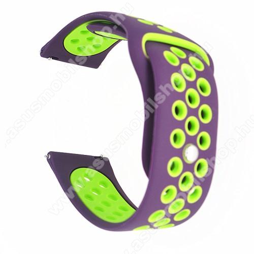 Okosóra szíj - légáteresztő, sportoláshoz, szilikon - 85mm + 88mm hosszú, 20mm széles - LILA / ZÖLD -SAMSUNG Galaxy Watch 42mm / Xiaomi Amazfit GTS / HUAWEI Watch GT / SAMSUNG Gear S2 / HUAWEI Watch GT 2 42mm / Galaxy Watch Active / Active  2 / Galaxy Gea