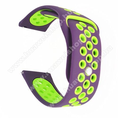 HUAWEI Watch GT 2 42mmOkosóra szíj - légáteresztő, sportoláshoz, szilikon - 85mm + 88mm hosszú, 20mm széles - LILA / ZÖLD -SAMSUNG Galaxy Watch 42mm / Xiaomi Amazfit GTS / HUAWEI Watch GT / SAMSUNG Gear S2 / HUAWEI Watch GT 2 42mm / Galaxy Watch Active / Active  2 / Galaxy Gea