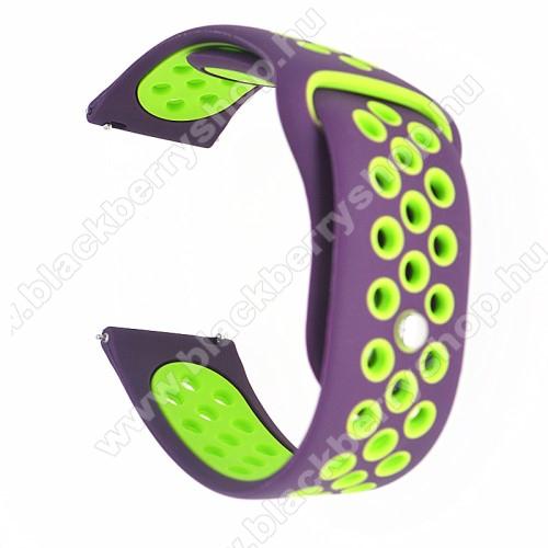 Okosóra szíj - légáteresztő, sportoláshoz, szilikon - 85mm + 88mm hosszú, 20mm széles - LILA / ZÖLD - SAMSUNG Galaxy Watch 42mm / Xiaomi Amazfit GTS / SAMSUNG Gear S2 / HUAWEI Watch GT 2 42mm / Galaxy Watch Active / Active 2