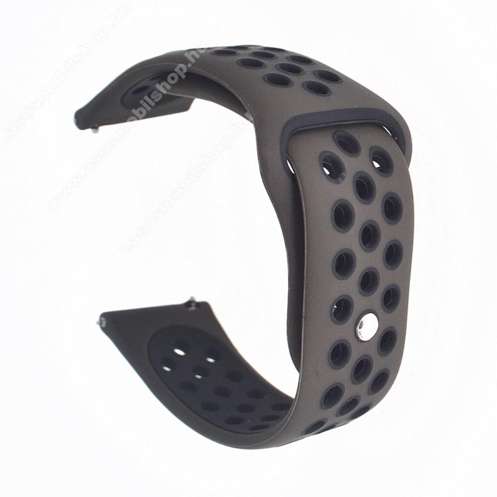 Okosóra szíj - légáteresztő, sportoláshoz, szilikon - 85mm + 88mm hosszú, 20mm széles - KÁVÉBARNA / FEKETE - SAMSUNG Galaxy Watch 42mm / Xiaomi Amazfit GTS / SAMSUNG Gear S2 / HUAWEI Watch GT 2 42mm / Galaxy Watch Active / Active 2