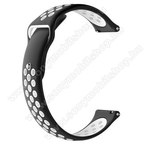 Okosóra szíj - légáteresztő, sportoláshoz, szilikon - 83mm + 85mm hosszú, 22mm széles - FEKETE / FEHÉR - HUAWEI Watch GT / HUAWEI Watch Magic / Watch GT 2 46mm