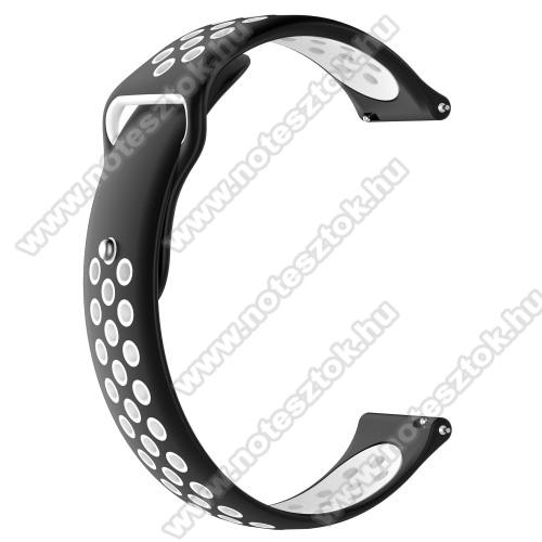 ZTE Watch GTOkosóra szíj - légáteresztő, sportoláshoz, szilikon - 83mm + 85mm hosszú, 22mm széles - FEKETE / FEHÉR - HUAWEI Watch GT / HUAWEI Watch Magic / Watch GT 2 46mm