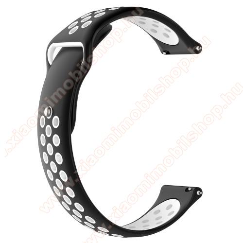 Xiaomi Amazfit Stratos 3Okosóra szíj - légáteresztő, sportoláshoz, szilikon - 83mm + 85mm hosszú, 22mm széles - FEKETE / FEHÉR - HUAWEI Watch GT / HUAWEI Watch Magic / Watch GT 2 46mm