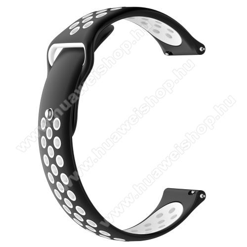 HUAWEI Watch MagicOkosóra szíj - légáteresztő, sportoláshoz, szilikon - 83mm + 85mm hosszú, 22mm széles - FEKETE / FEHÉR - HUAWEI Watch GT / HUAWEI Watch Magic / Watch GT 2 46mm