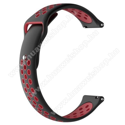 HUAWEI Watch MagicOkosóra szíj - légáteresztő, sportoláshoz, szilikon - 83mm + 85mm hosszú, 21mm széles - FEKETE / PIROS - HUAWEI Watch GT / HUAWEI Watch Magic