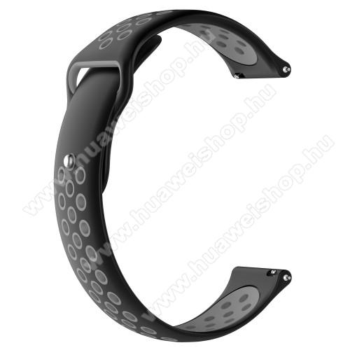 HUAWEI Watch MagicOkosóra szíj - légáteresztő, sportoláshoz, szilikon - 83mm + 85mm hosszú, 21mm széles - FEKETE / SZÜRKE - HUAWEI Watch GT / HUAWEI Watch Magic