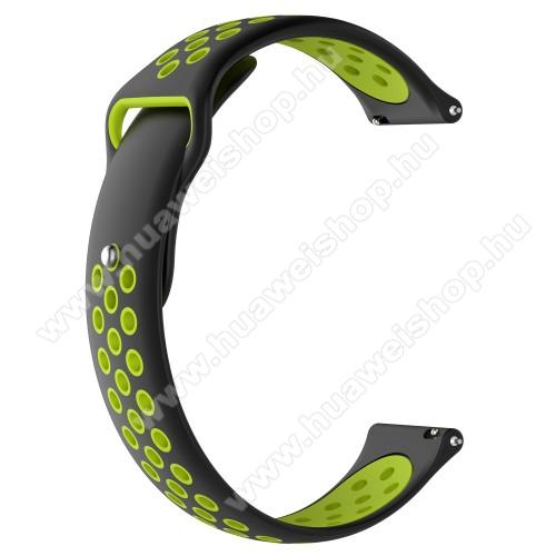 HUAWEI Watch MagicOkosóra szíj - légáteresztő, sportoláshoz, szilikon - 83mm + 85mm hosszú, 21mm széles - FEKETE / ZÖLD - HUAWEI Watch GT / HUAWEI Watch Magic / Watch GT 2 46mm