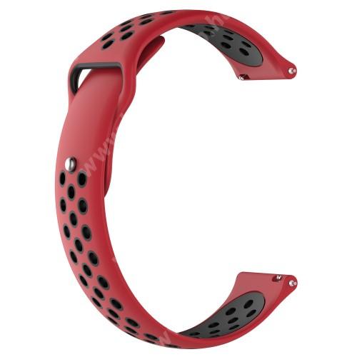 HUAWEI Watch Magic Okosóra szíj - légáteresztő, sportoláshoz, szilikon - 83mm + 85mm hosszú, 22mm széles - PIROS / FEKETE - HUAWEI Watch GT / HUAWEI Watch Magic / Watch GT 2 46mm