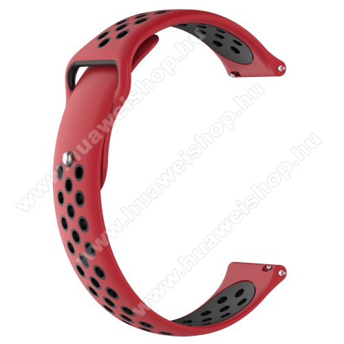 HUAWEI Watch MagicOkosóra szíj - légáteresztő, sportoláshoz, szilikon - 83mm + 85mm hosszú, 21mm széles - PIROS / FEKETE - HUAWEI Watch GT / HUAWEI Watch Magic / Watch GT 2 46mm