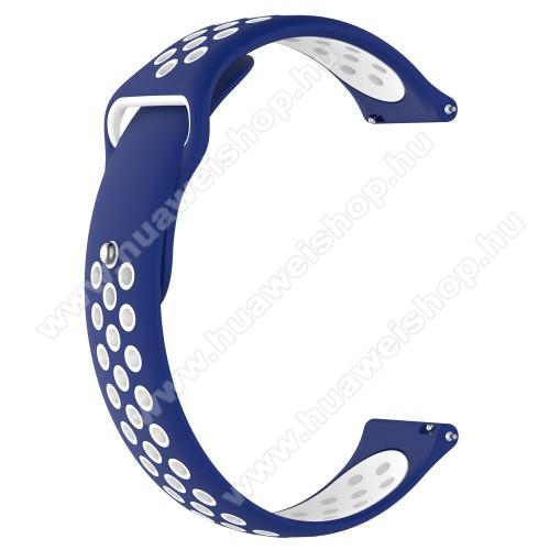 HUAWEI Watch MagicOkosóra szíj - légáteresztő, sportoláshoz, szilikon - 83mm + 85mm hosszú, 21mm széles - KÉK / FEHÉR - HUAWEI Watch GT / HUAWEI Watch Magic / Watch GT 2 46mm