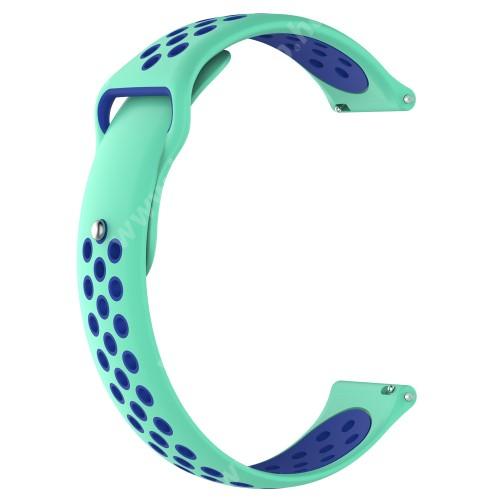 HUAWEI Watch GT 46mm Okosóra szíj - légáteresztő, sportoláshoz, szilikon - 83mm + 85mm hosszú, 22mm széles - ZÖLD / KÉK - HUAWEI Watch GT / HUAWEI Watch Magic / Watch GT 2 46mm