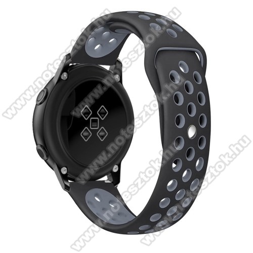 HUAWEI Honor MagicWatch 2 42mm Okosóra szíj - légáteresztő, sportoláshoz, szilikon, 123mm + 90mm hosszú, 20mm széles - FEKETE / SZÜRKE - SAMSUNG Galaxy Watch 42mm / Xiaomi Amazfit GTS / SAMSUNG Gear S2 / HUAWEI Watch GT 2 42mm / Galaxy Watch Active / Active 2