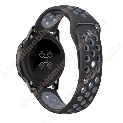 Xiaomi Amazfit BipOkosóra szíj - légáteresztő, sportoláshoz, szilikon, 123mm + 90mm hosszú, 20mm széles - FEKETE / SZÜRKE - SAMSUNG Galaxy Watch 42mm / Xiaomi Amazfit GTS / SAMSUNG Gear S2 / HUAWEI Watch GT 2 42mm / Galaxy Watch Active / Active 2