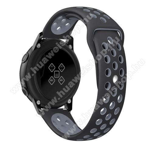 Okosóra szíj - légáteresztő, sportoláshoz, szilikon, 123mm + 90mm hosszú, 20mm széles - FEKETE / SZÜRKE - SAMSUNG Galaxy Watch 42mm / Xiaomi Amazfit GTS / SAMSUNG Gear S2 / HUAWEI Watch GT 2 42mm / Galaxy Watch Active / Active 2