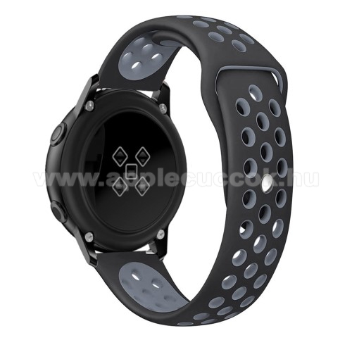 Okosóra szíj - légáteresztő, sportoláshoz, szilikon, 123mm + 90mm hosszú, 20mm széles - FEKETE / SZÜRKE - SAMSUNG Galaxy Watch 42mm / Xiaomi Amazfit GTS / HUAWEI Watch GT / SAMSUNG Gear S2 / HUAWEI Watch GT 2 42mm / Galaxy Watch Active / Active  2 / Galax