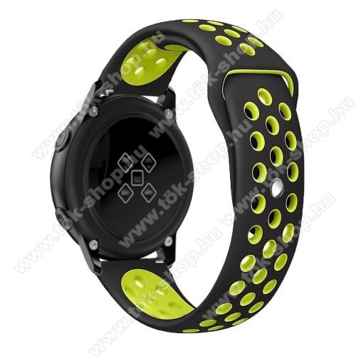 Okosóra szíj - légáteresztő, sportoláshoz, szilikon, 123mm + 90mm hosszú, 20mm széles - FEKETE / ZÖLD - SAMSUNG Galaxy Watch 42mm / Xiaomi Amazfit GTS / SAMSUNG Gear S2 / HUAWEI Watch GT 2 42mm / Galaxy Watch Active / Active 2