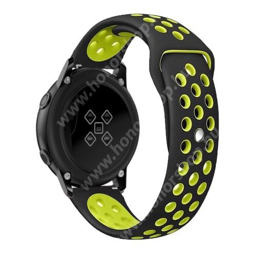 HUAWEI Honor MagicWatch 2 42mm Okosóra szíj - légáteresztő, sportoláshoz, szilikon, 123mm + 90mm hosszú, 20mm széles - FEKETE / ZÖLD - SAMSUNG Galaxy Watch 42mm / Xiaomi Amazfit GTS / SAMSUNG Gear S2 / HUAWEI Watch GT 2 42mm / Galaxy Watch Active / Active 2