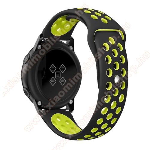 Xiaomi Amazfit Youth EditionOkosóra szíj - légáteresztő, sportoláshoz, szilikon, 123mm + 90mm hosszú, 20mm széles - FEKETE / ZÖLD - SAMSUNG Galaxy Watch 42mm / Xiaomi Amazfit GTS / SAMSUNG Gear S2 / HUAWEI Watch GT 2 42mm / Galaxy Watch Active / Active 2