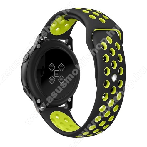 Okosóra szíj - légáteresztő, sportoláshoz, szilikon, 123mm + 90mm hosszú, 20mm széles - FEKETE / ZÖLD - SAMSUNG Galaxy Watch 42mm / Xiaomi Amazfit GTS / SAMSUNG Gear S2 / HUAWEI Watch GT 2 42mm / Galaxy Watch Active / Active 2