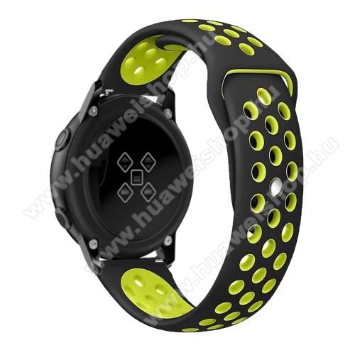 HUAWEI Watch 2Okosóra szíj - légáteresztő, sportoláshoz, szilikon, 123mm + 90mm hosszú, 20mm széles - FEKETE / ZÖLD - SAMSUNG Galaxy Watch 42mm / Xiaomi Amazfit GTS / SAMSUNG Gear S2 / HUAWEI Watch GT 2 42mm / Galaxy Watch Active / Active 2