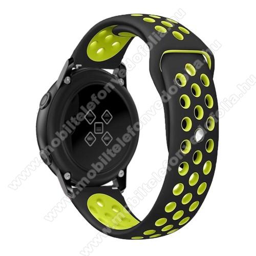 Xiaomi 70mai SaphirOkosóra szíj - légáteresztő, sportoláshoz, szilikon, 123mm + 90mm hosszú, 20mm széles - FEKETE / ZÖLD - SAMSUNG Galaxy Watch 42mm / Xiaomi Amazfit GTS / SAMSUNG Gear S2 / HUAWEI Watch GT 2 42mm / Galaxy Watch Active / Active 2