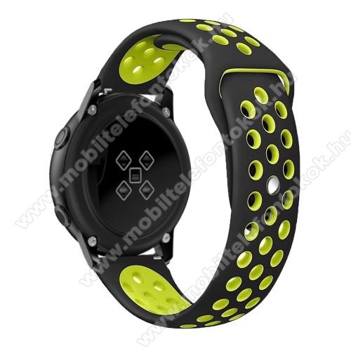 Xiaomi Amazfit NeoOkosóra szíj - légáteresztő, sportoláshoz, szilikon, 123mm + 90mm hosszú, 20mm széles - FEKETE / ZÖLD - SAMSUNG Galaxy Watch 42mm / Xiaomi Amazfit GTS / SAMSUNG Gear S2 / HUAWEI Watch GT 2 42mm / Galaxy Watch Active / Active 2