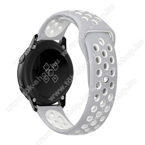 Okosóra szíj - légáteresztő, sportoláshoz, szilikon, 123mm + 90mm hosszú, 20mm széles - FEHÉR / SZÜRKE - SAMSUNG Galaxy Watch 42mm / Xiaomi Amazfit GTS / HUAWEI Watch GT / SAMSUNG Gear S2 / HUAWEI Watch GT 2 42mm / Galaxy Watch Active / Active  2 / Galaxy