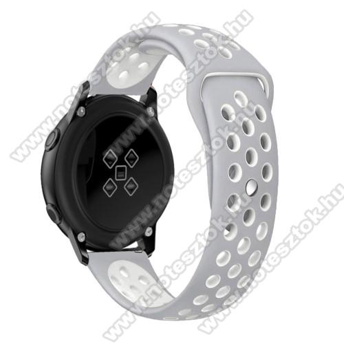 WOTCHI SmartWatch W22SOkosóra szíj - légáteresztő, sportoláshoz, szilikon, 135mm + 95mm hosszú, 20mm széles - FEHÉR / SZÜRKE - SAMSUNG Galaxy Watch 42mm / Xiaomi Amazfit GTS / SAMSUNG Gear S2 / HUAWEI Watch GT 2 42mm / Galaxy Watch Active / Active 2