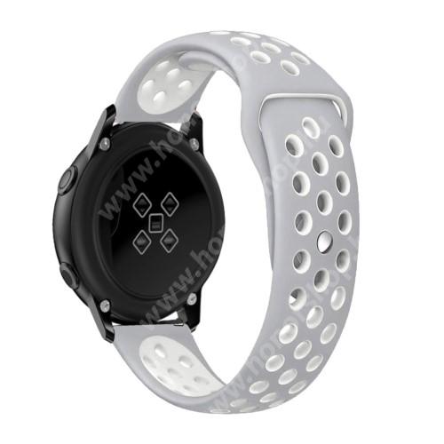 HUAWEI Honor MagicWatch 2 42mm Okosóra szíj - légáteresztő, sportoláshoz, szilikon, 135mm + 95mm hosszú, 20mm széles - FEHÉR / SZÜRKE - SAMSUNG Galaxy Watch 42mm / Xiaomi Amazfit GTS / SAMSUNG Gear S2 / HUAWEI Watch GT 2 42mm / Galaxy Watch Active / Active 2