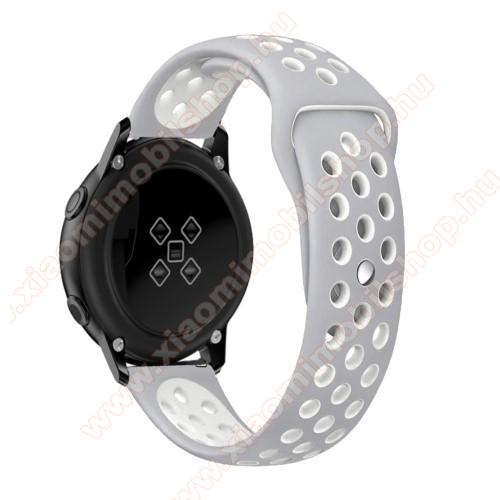 Xiaomi Amazfit Youth EditionOkosóra szíj - légáteresztő, sportoláshoz, szilikon, 135mm + 95mm hosszú, 20mm széles - FEHÉR / SZÜRKE - SAMSUNG Galaxy Watch 42mm / Xiaomi Amazfit GTS / SAMSUNG Gear S2 / HUAWEI Watch GT 2 42mm / Galaxy Watch Active / Active 2