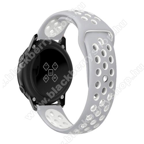 Okosóra szíj - légáteresztő, sportoláshoz, szilikon, 135mm + 95mm hosszú, 20mm széles - FEHÉR / SZÜRKE - SAMSUNG Galaxy Watch 42mm / Xiaomi Amazfit GTS / SAMSUNG Gear S2 / HUAWEI Watch GT 2 42mm / Galaxy Watch Active / Active 2