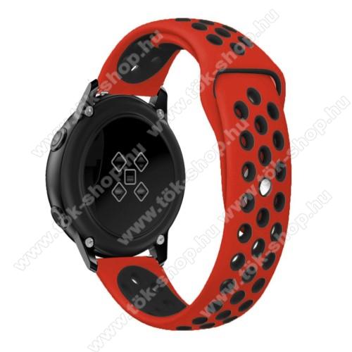 Okosóra szíj - légáteresztő, sportoláshoz, szilikon, 123mm + 90mm hosszú, 20mm széles - FEKETE / PIROS - SAMSUNG Galaxy Watch 42mm / Xiaomi Amazfit GTS / HUAWEI Watch GT / SAMSUNG Gear S2 / HUAWEI Watch GT 2 42mm / Galaxy Watch Active / Active  2 / Galaxy