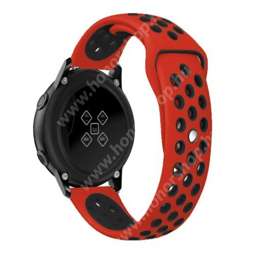 HUAWEI Honor MagicWatch 2 42mm Okosóra szíj - légáteresztő, sportoláshoz, szilikon, 123mm + 90mm hosszú, 20mm széles - FEKETE / PIROS - SAMSUNG Galaxy Watch 42mm / Xiaomi Amazfit GTS / SAMSUNG Gear S2 / HUAWEI Watch GT 2 42mm / Galaxy Watch Active / Active 2