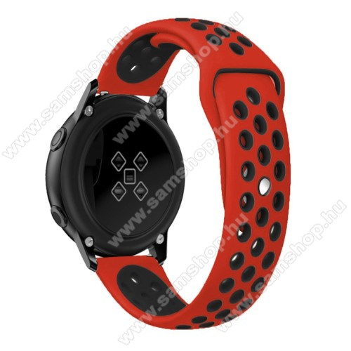 SAMSUNG Galaxy Watch Active2 40mm Okosóra szíj - légáteresztő, sportoláshoz, szilikon, 123mm + 90mm hosszú, 20mm széles - FEKETE / PIROS - SAMSUNG Galaxy Watch 42mm / Xiaomi Amazfit GTS / SAMSUNG Gear S2 / HUAWEI Watch GT 2 42mm / Galaxy Watch Active / Active 2