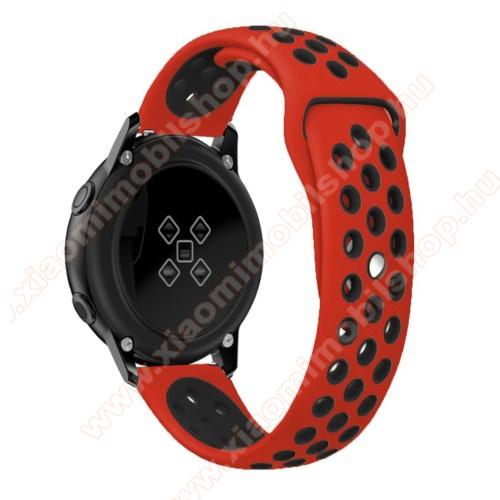 Xiaomi Amazfit GTSOkosóra szíj - légáteresztő, sportoláshoz, szilikon, 123mm + 90mm hosszú, 20mm széles - FEKETE / PIROS - SAMSUNG Galaxy Watch 42mm / Xiaomi Amazfit GTS / SAMSUNG Gear S2 / HUAWEI Watch GT 2 42mm / Galaxy Watch Active / Active 2