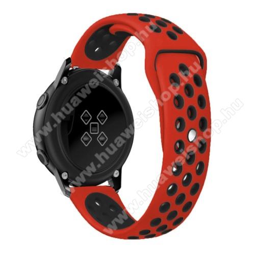 HUAWEI Watch GT 2 42mmOkosóra szíj - légáteresztő, sportoláshoz, szilikon, 123mm + 90mm hosszú, 20mm széles - FEKETE / PIROS - SAMSUNG Galaxy Watch 42mm / Xiaomi Amazfit GTS / HUAWEI Watch GT / SAMSUNG Gear S2 / HUAWEI Watch GT 2 42mm / Galaxy Watch Active / Active  2 / Galaxy
